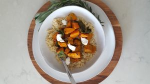 squash and sage quinoa with goat cheese